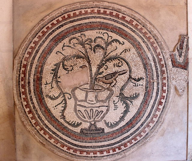 Mosaic medallion showing a kantharos and doves, 6th c. (church of St John)