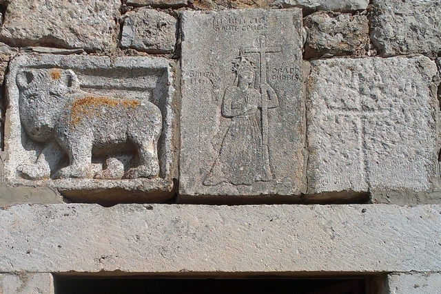 Detail above the entrance to the church of St Helena, 15th c. (Stari Grad Plain)